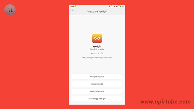 App traducida Yeelight 2.1.20