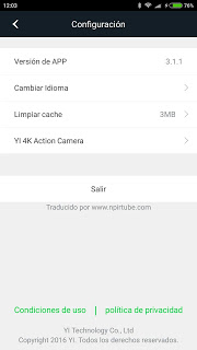 App traducida Xiaomi Yi Action Camera 3.1.1