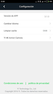 App traducida Xiaomi Yi Action Camera 3.1.3