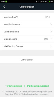 App traducida Xiaomi Yi Action Camera 3.1.7