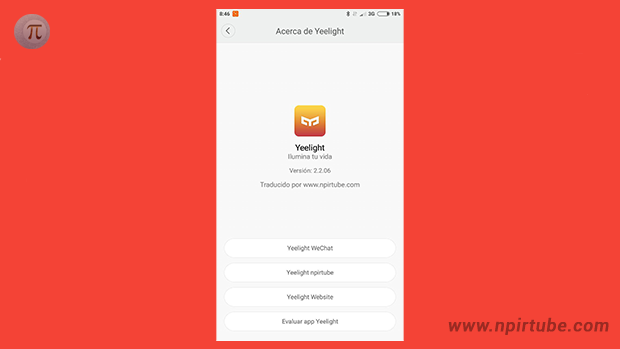 App traducida Yeelight 2.2.06