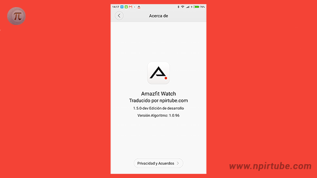 App traducida Amazfit Watch 1.5.0 DEV