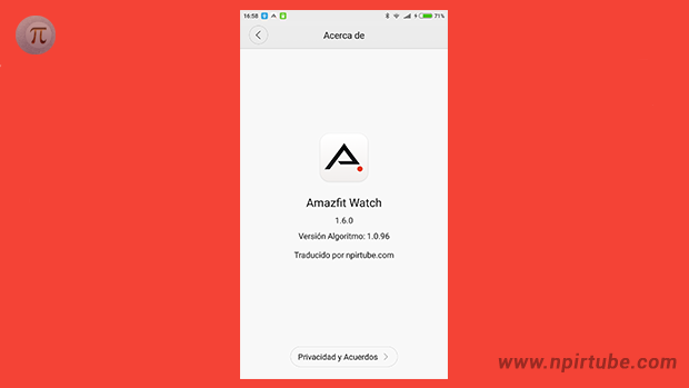 App traducida Amazfit Watch 1.6.0