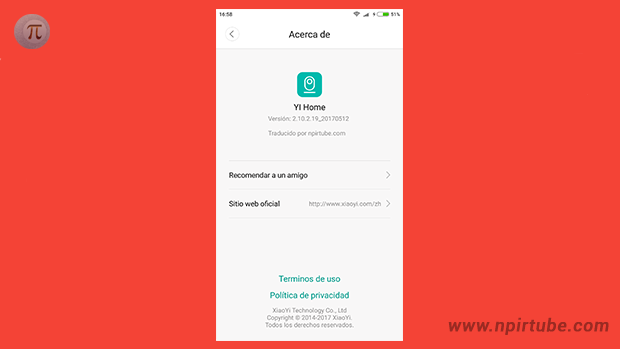 App traducida Xiaomi YI Home Camera 2.10.2.19