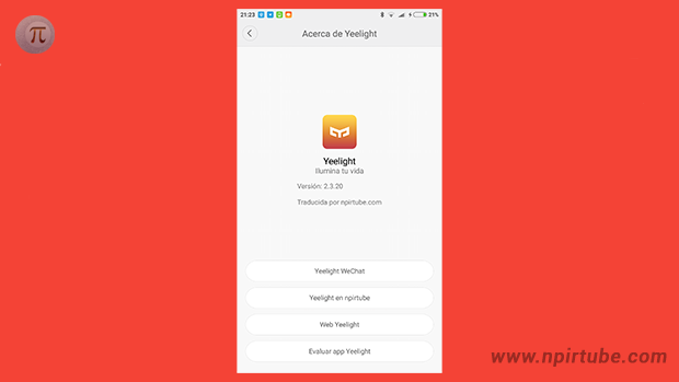 App traducida Yeelight 2.3.20