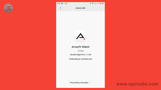 App traducida Amazfit Watch 1.7.2.2