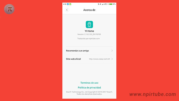 App traducida Xiaomi YI Home Camera 2.10.2.22