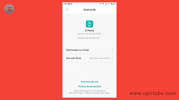 App traducida Xiaomi YI Home Camera 2.10.2.23