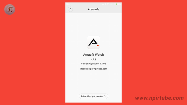 App traducida Amazfit Watch 1.7.3