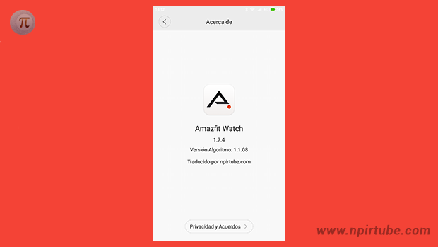App traducida Amazfit Watch 1.7.4