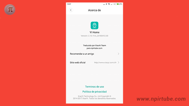 App traducida al español YI Home Camera 2.10.19.6
